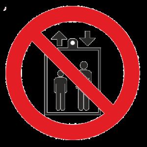 Знак - Запрещается пользоваться лифтом для подъема(спуска) людей Р-34