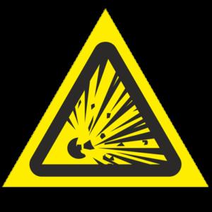 Знак - Взрывоопасно W02