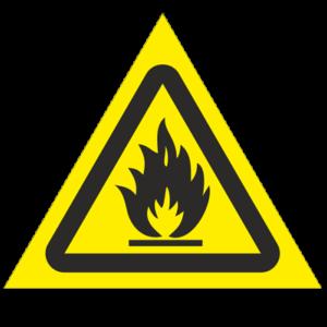 Знак - Пожароопасно. Легковоспламеняющиеся вещества W01